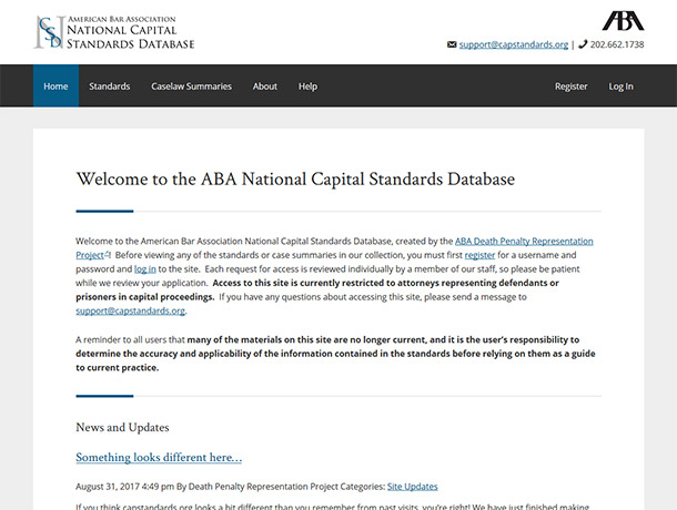 Screenshot of portfolio item 'American Bar Association – National Capital Standards Database'