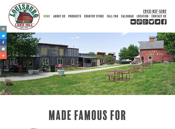 Screenshot of portfolio item 'Louisburg Cider Mill'