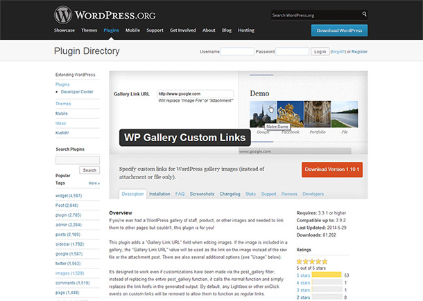 Screenshot of portfolio item 'WP Gallery Custom Links Plugin'
