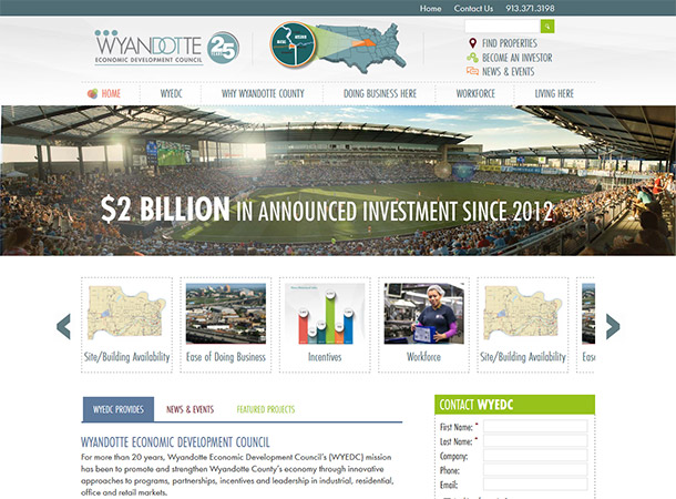 Screenshot of portfolio item 'Wyandotte Economic Development Council'