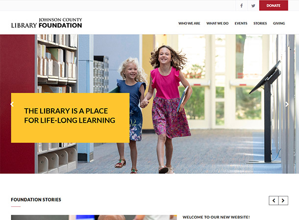 Screenshot of portfolio item 'Johnson County Library Foundation'